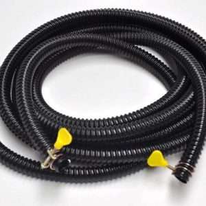 three quarter inch (20mm), 20 Ft Roll, Black Ribbed Pond Hose with Clamps