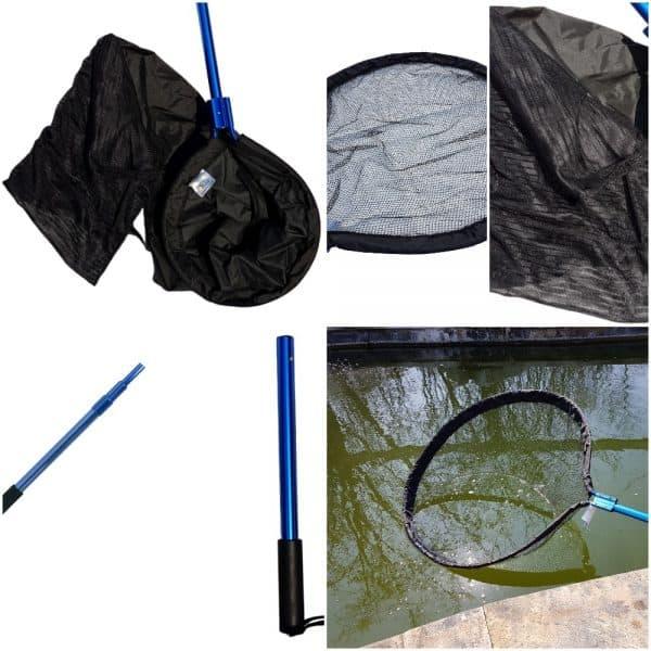 Heavy Duty Koi Handling Kit - 24 Inch Pan Net, Waterproof Koi Sock, Telescopic Heavy Duty Pole & 15 Inch Detachable Pole
