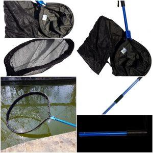Heavy Duty Koi Handling Kit with Pan Net, Waterproof Koi Sock, Telescopic Heavy Duty Pole & 15 Inch Detachable Pole