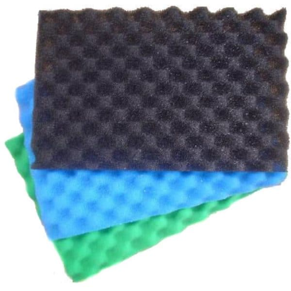 """Replacement Pond Filter Foam 17''x11''x1"""" - 3 Part Egg Box Pond Filter Sponges. Foam Filter Media Pads (pack of 3) Egg Box Style. Each Foam has Different Levels of Coarseness for Added Filtration. Perfect for any water garden koi fish pond or aquatic application."""